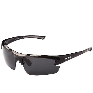 Duco Polarisierte Sonnenbrille Herren für Radfahren Angeln Golf Unzerbrechlich 8513S Schwarz Rahmen Grau Linse jwRpltA3H0