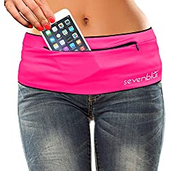 SevenBlu HIP - Fashion Money Belt / Extra Pocket / Running Belt - World's Best Stylish Travel Wallet or Mini Purse - with ZIPper - Fits iPhone 6 Plus - Your Smartphone Pocket (Pink M)