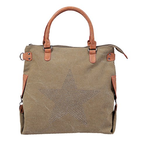 Women's Work for Tote Bag Shoulder Casual Green and Daily 11 by Vintage Canvas DiaryLook Army School Bag Multifunctional 808rqR