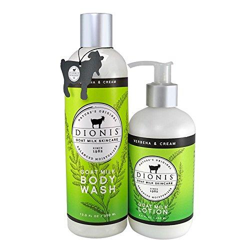 Dionis Goat Milk Body Lotion and Body Wash Gift Set (Verbena & Cream, 2 Piece) (Aromatherapy Verbena)