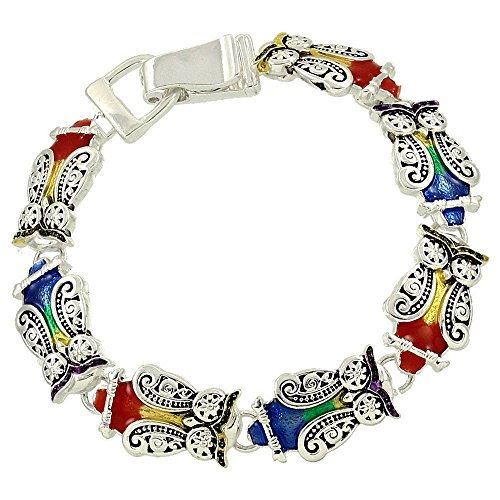 Fold Over Magnetic Clasp (Owl Charm Bracelet C25 Ornate Colorful Silver Tone Magnetic Fold Over Clasp)