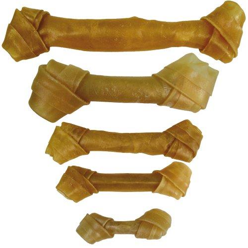 Geknotete Kauknochen ca. 19cm 10 Stck Für ältere Hunde sehr gut geeignet Der lange Kauspass Aus gepresster Rinderhaut Zahnreinigend