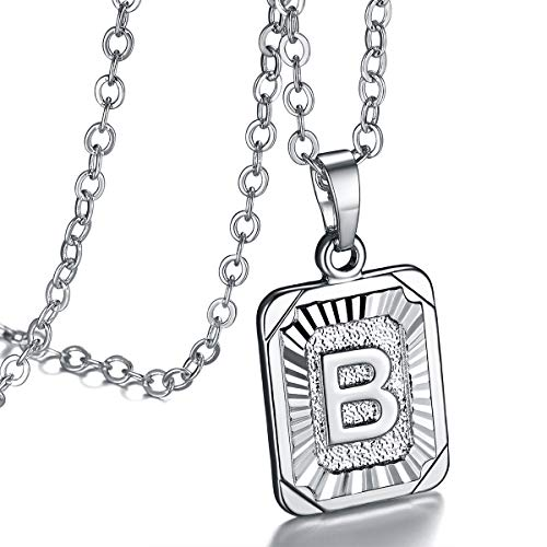 (FOCALOOK Monogram Necklace A-Z 26 Letters Pendants Platinum Plated Square Script Initial Jewelry with Stainless Steel 22 Inch Chain, Capital Alphabet Necklaces for Women Girls (Letter B))