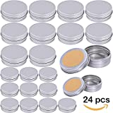 Supla 24 Pcs 2 Size Tin candle Container with Lids Tin Cans Travel Tins Empty Storage Tins with Lids for Candle Making for Crafts 1oz and 2 oz