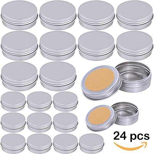 Supla 24 Pcs 2 Size Tin candle Container with Lids Tin Cans Travel Tins Empty Storage Tins with Lids for Candle Making for Crafts 1oz and 2 (Small Round Tin)