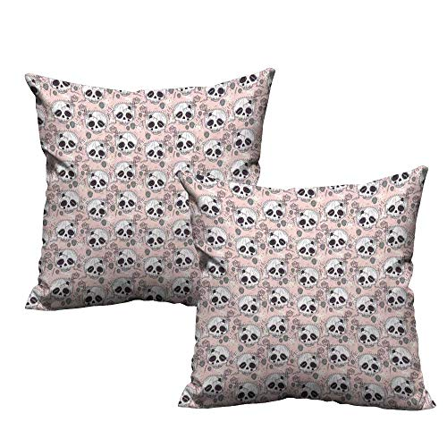 WinfreyDecor Personalized Pillowcase Skull Halloween Traditional Mexican Sugar Day of The Dead Roses Horror Folk Pattern Anti-Fading W17 x L17 Blush White Onyx