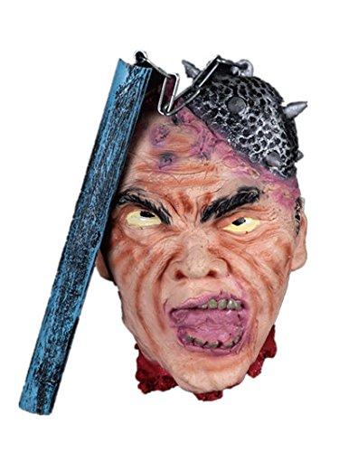 [Halloween Terrific Props, Chunnuan, Scary Hanging Head For Terror Ceremony Supplies Bar Haunted House (scary-1) (meteor hammer cut off head)] (Meteor Man Halloween Costume)