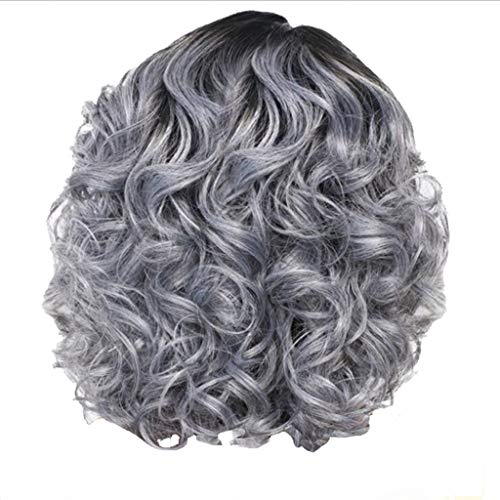 Topgee Ombre Short Curly Bob Wigs for African American Black Women Dark Roots Shoulder Length Side Part wigs Hairs Heat Resistant Synthetic Grey Ombre 18