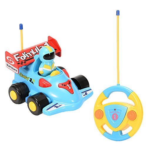 Sakiyr- Cartoon R/C Formula Race Car with Music and Lights Radio Control Toy for Kids and Toddlers, Blue