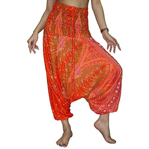 Lofbaz Women's Peacock Print 2 in 1 Harem Pants Jumpsuit - Peacock Orange and Red - M