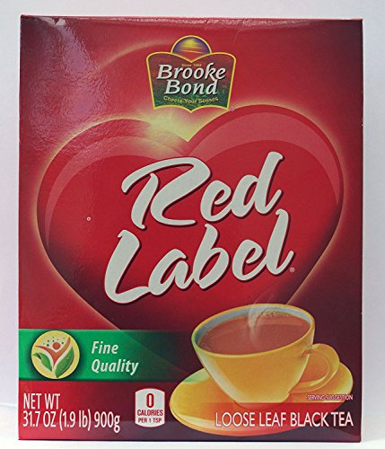 Brooke Bond Red Label Loose Leaf Black Tea, 31.7 Ounce(1.9 Pound) 900 Gram - Unilever (Tea Rose England Red)