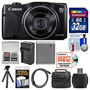 Canon PowerShot SX710 HS Wi-Fi Digital Camera with 32GB Card + Case + Battery & Charger + Flex Tripod + Accessory Kit
