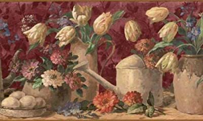 Waverly 5507150 Watering Cans Floral Wallpaper Border, Brown