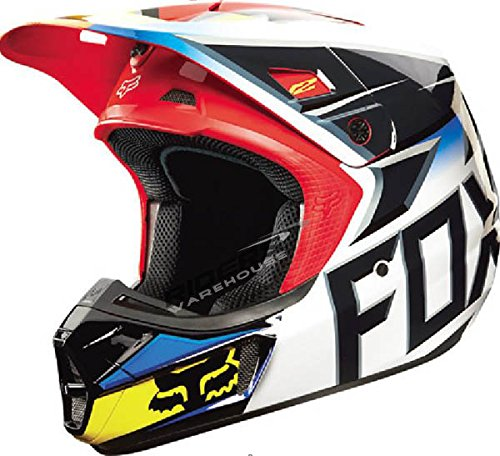 Fox Racing Race Men's V2 Motocross Motorcycle Helmet - Black/Red / 2X-Large (Black V2 Race Helmet)