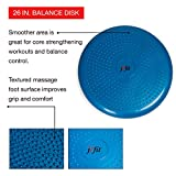 """j/fit Inflatable Balance & Stability Disc: (LARGEST in Industry 26"""" and 13 size) Large Yoga Wobble Cushion Trainer with Pump - Core Fitness & Workout Equipment Discs for Home - Office Chair, Ankle Strength Training & Dog or Pet Activity"""