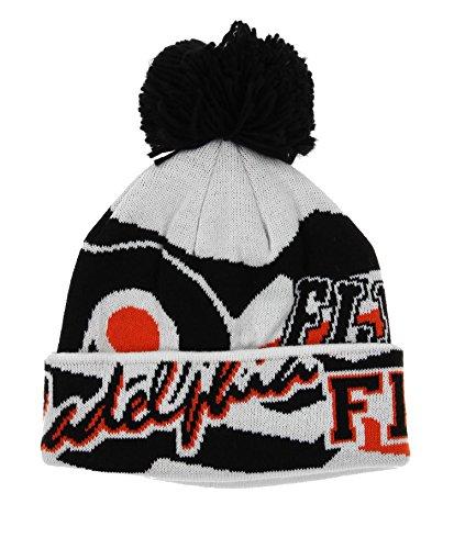 Reebok NHL Big Boys Youth (8-20) Enforcer Cuffed Knit Winter Hat with Pom, Philadelphia - Hat Junior Hockey