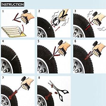 CICMOD 50 pcs Kit de Mecha Pinchazos para Reparación Neumáticos de Coche, Moto y Bicicletas 10 cm: Amazon.es: Coche y moto