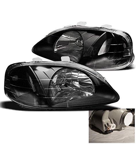 ZMAUTOPARTS Civic 2/3/4Dr Crystal Headlight JDM Black CX DX EX Si Front Lamp - Civic 4dr Crystal Honda