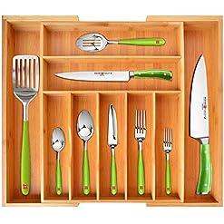 Kitchen Luxury Bamboo Kitchen Drawer Organizer – Silverware Organizer/Utensil Holder and Cutlery Tray with Grooved Drawer… silverware organizers