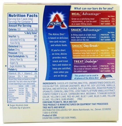 Endulge Chocolate Peanut Candies 1.20 Ounces (5 Packs) by Atkins