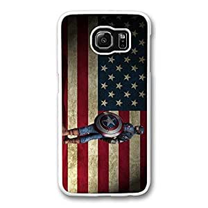 Samsung S6 Case, Galaxy S6 Case - Highly Protective White Hard Case for Samsung Galaxy S6 Captain America With Flag New Release Back Case for Samsung Galaxy S6