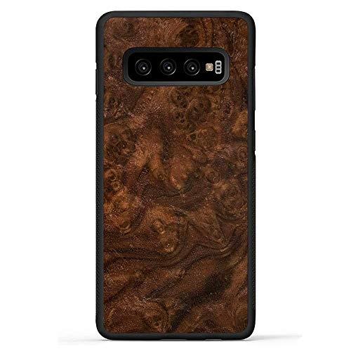 Carved | Galaxy S10 Plus | Luxury Protective Traveler Case | Unique Real Wooden Phone Cover | Rubber Bumper | Walnut Burl (Burl Walnut Case)