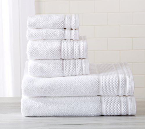 6-Piece Luxury Hotel / Spa 100% Turkish Cotton Towel Set, 600 GSM. Includes Bath Towels, Hand Towels and Washcloths. Helena Collection By Great Bay Home Brand. (Optic White)