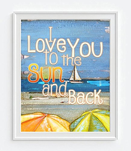 I love you to the Sun and Back - Danny Phillips art print, UNFRAMED, Vintage Sailboat Ocean Coastal beach umbrellas nautical wall art, mixed media collage, 8x10 inches