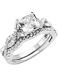 Ladies 14K Yellow -OR- White Gold Princess 4 Prong CZ Cubic Zirconia Split Shank Infinity Design Engagement Ring + Wedding Band Bridal Set with Sidestones (Multiple Sizes Available)