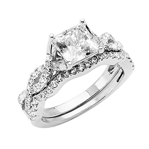 Wellingsale Ladies 14K White Gold Princess 4 Prong CZ Cubic Zirconia Split Shank Infinity Design Engagement Ring + Wedding Band Bridal Set with Sidestones - Size ()