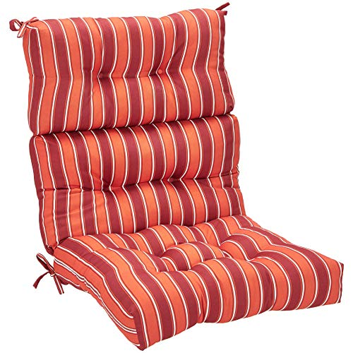 AmazonBasics High Back Chair Patio Cushion- Red Stripes ()