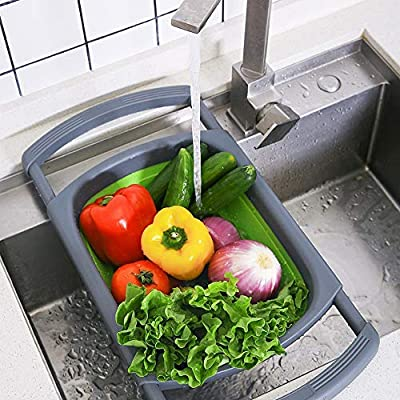 Kitchen Collapsible Colander, Colander Collapsible Silicone, Colander  Strainer Over The Sink Vegetable/Fruit Colanders Strainers with Extendable  Handles, Folding Strainer for Kitchen (6 Quart, Green): Kitchen Tools &  Gadgets: Amazon.com.au
