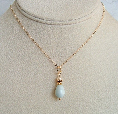 Beautiful Pastel Blue Pear Siimulated Pearl Gold Filled & Pewter 20