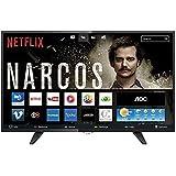 "Smart TV LED 39"" HD com WiFi 1 USB 2 HDMI TV Digital Controle com Botão Netflix, AOC LE39S5970, Preto"