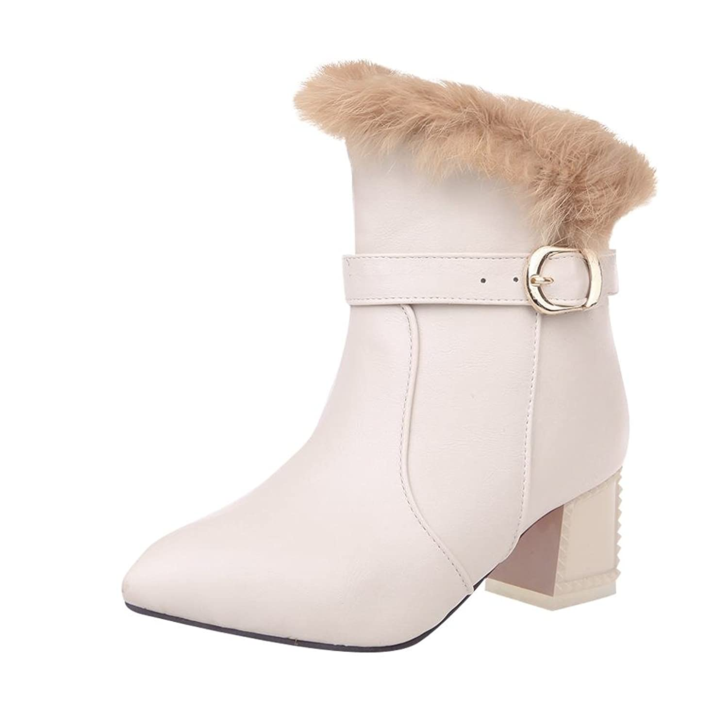 Carolbar Women's Red Sole Buckle Pointed Toe Cony Hair Warm Mid Heel Winter Boots