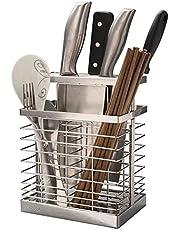 Universal Knife Holder - SUS 304 stainless steel Knife Block Holder - Mesh Utensil Drying Rack/Chopsticks/Spoon/Fork/Knife Drainer Basket Flatware Storage