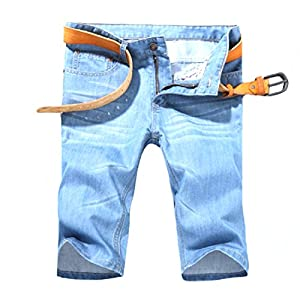 Coolred-Men Summer Cool Straight Casual Loose Denim Cotton Half Pants