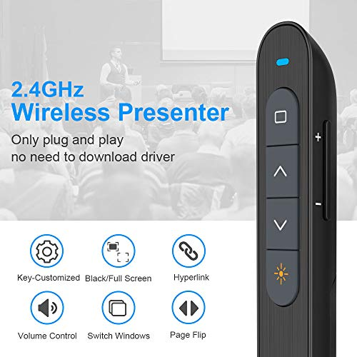 Key-Customized Wireless Presenter, KNORVAY N27 Presenation Clicker for Powerpoint, Hyperlink Volume PPT PowerPoint Clicker for Presentation Remote Slide Advancer 330 FT