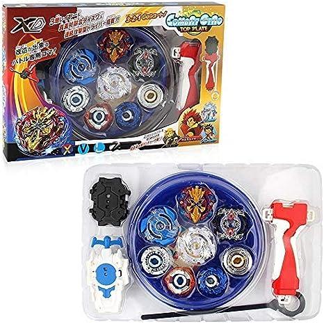 3T6B Peonzas con Lanzador Conjunto, 4 Gyro Spinners y 2 Turbo Burst y Disco de Batalla Set, para Regalo de Vacaciones de Cumpleaños Niños