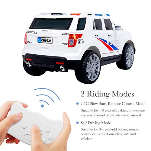 021d03323894 Uenjoy 12V Kids Police Ride on Car Electric SUV Car Battery Powered  Motorized Vehicles W/ Remote Control, 2 Speeds, AUX, Sirens, LED Light,  White