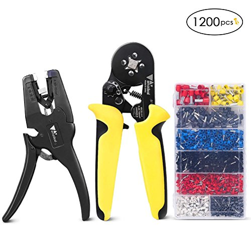 Crimping Tool Kit Amzdeal Ferrule Crimper - with Wire Stripper and 1200 Terminal Connector Self- adjustable Ratchet Pliers for Stripping Crimping by Amzdeal