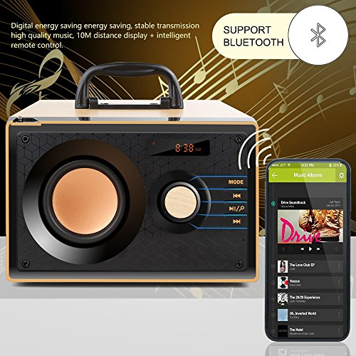 Desktop Wooden Bluetooth Speaker 10w Powerful Wireless Stereo Subwoofer Loudspeakers Music Player Support Digital Display Remote Control FM Radio TF Card USB AUX Speakers for Home Party for Phone by TOMPROAD (Image #1)