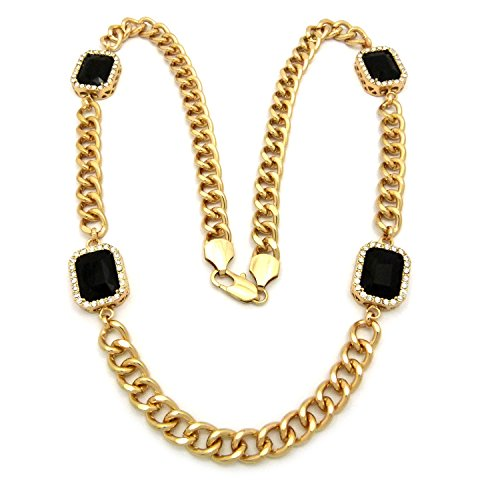 Mens New Iced Out Miami Cuban Link Rich Gang Black Onyx Chain Necklace