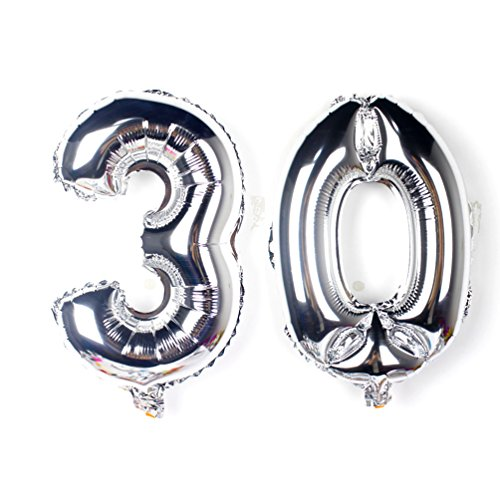 KEYYOOMY 40 inch Number 30 Balloon Kit Gaint Jumbo Silver Foil Mylar Balloons for 30 Birthday Party Anniversary Celebrate Parties Decorations Supplies (a Number 3 Balloon and a Number 0 Balloon)