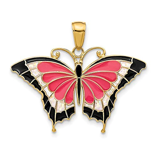 14k Yellow Gold Enameled Butterfly Pendant Charm Necklace Animal Fine Jewelry Gifts For Women For Her ()