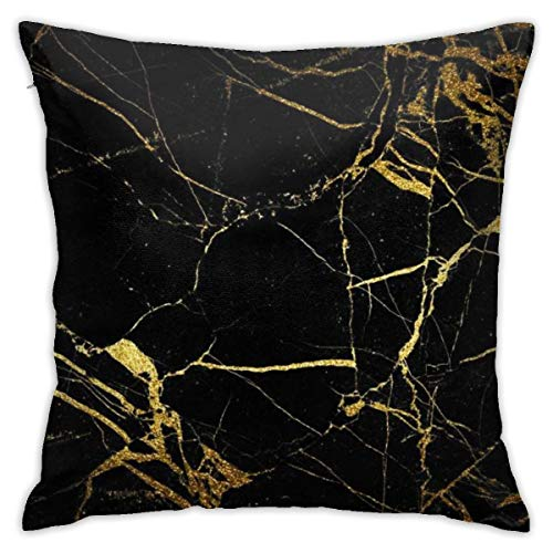 FPSMOUPD Gold Black Wallpaper Twin Sides Pillow Cases 18x18 Inch Customize Extra Soft Throw Pillow Cover (League Of Legends Wallpaper Black And White)