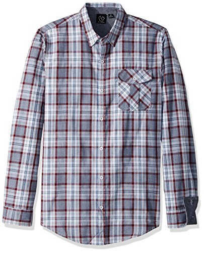 Burnside Mens Crushin It Long-Sleeve Woven Shirt Front Button Closure