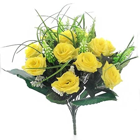 38cm artificial silk yellow rose grass bush with gyp foliage 38cm artificial silk yellow rose grass bush with gyp foliage 12 flower heads mightylinksfo