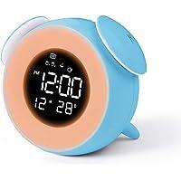 CHEREEKI Väckarklocka Nätdriven, Väckarklocka för Barn med Väckarljus, Snooze Touch-kontroll, USB-laddning för Säng…