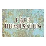 CGSignLab | ''Free Admission -Ghost Aged Blue'' Repositionable Opaque White 1st Surface Static-Cling Non-Adhesive Window Decal (5-Pack) | 27''x18''